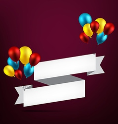 Celebrate ribbon background with balloons vector