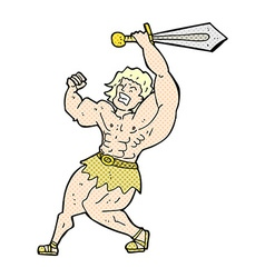 Comic cartoon barbarian hero vector
