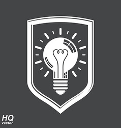 Protection shield with electricity light bulb vector image