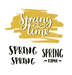 Handdrawn lettering spring time vector