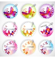 butterflies stickers set vector image