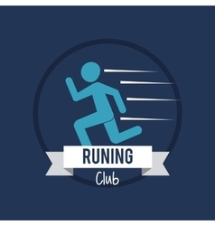 Running design fitness concept blue background vector