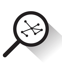 Magnifying glass with molecule icon vector