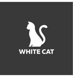 Black cat sitting on a white background logo vector