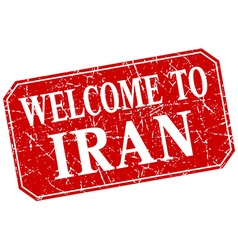 Welcome to iran red square grunge stamp vector