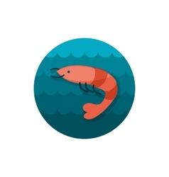 Shrimp icon prawn  summer vacation vector