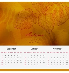 Autumnal calendar page of new 2013 year vector