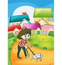 A lady strolling with her white puppy vector image vector image