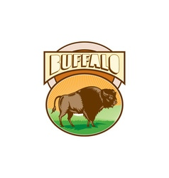 American Bison Buffalo Oval Woodcut vector image