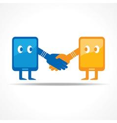 Businessman handshake with tablet stock vector