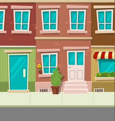 cartoon city typical town street house brick wall vector image vector image