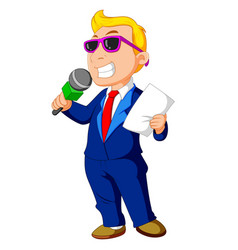 cartoon host holding a microphone vector image