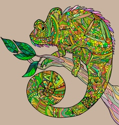 Chameleon on a tree branch vector