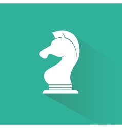 Chess knight icon with long shadow vector