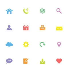 Colorful simple flat icon set 1 vector image