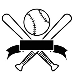 crossed baseball bats and ball with banner vector image vector image