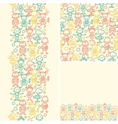 Doodle happy children seamless pattern background vector image