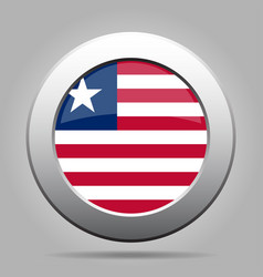 Flag of liberia shiny metal gray round button vector