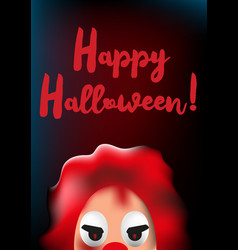 Happy halloween poster with scary clown mask vector