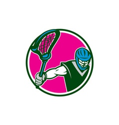 Lacrosse player crosse stick circle retro vector