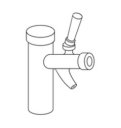 Metal faucet for dispensing cold kvass and beer in vector