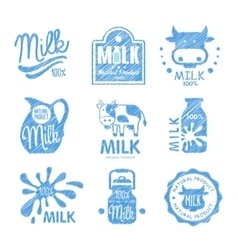 Milk and dairy labels vector
