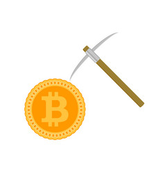 mining bitcoin concept coin and pick vector image