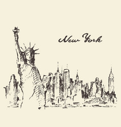 New york city with statue of liberty sketch vector