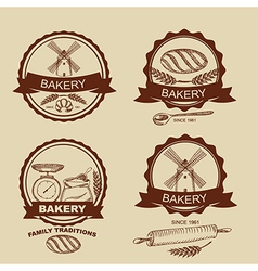 Set of vintage bakery badges and labels retro vector