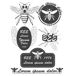 Set of vintage honey bees labels badges and design vector image