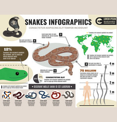 Snakes reptiles infographics vector