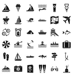 Water creation icons set simple style vector