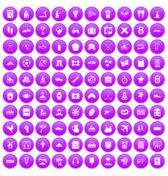 100 activity icons set purple vector