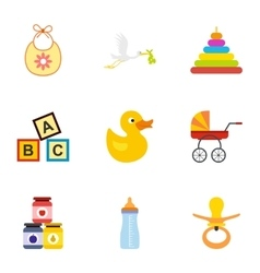 Baby supplies icons set flat style vector