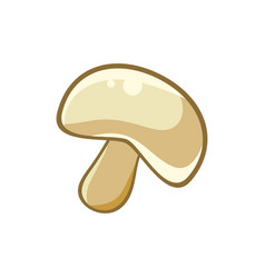 White forest mushroom food item outlined isolated vector