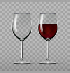 Big reds wine and empty glass vector