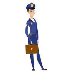 caucasian police woman holding briefcase vector image