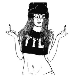Rap swag girl vector