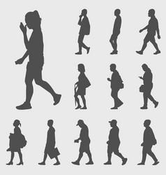 Walk silhouettes set vector