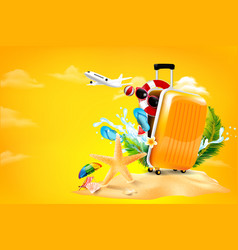 Air plane open luggage travel case with starfish vector
