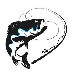 fish swallows bait vector image