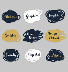 golden navy blue and white scribble labels set vector image