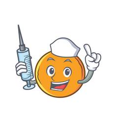 Nurse orange fruit cartoon character vector