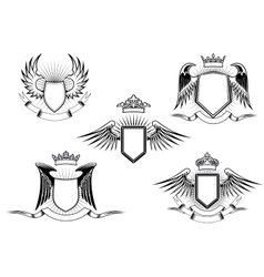 Set of heraldic winged shields vector