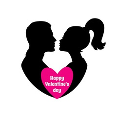 Happy Valentines day couple silhouette image vector image