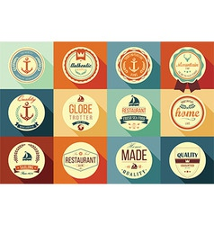 Collection of vintage retro labels badges ribbons vector
