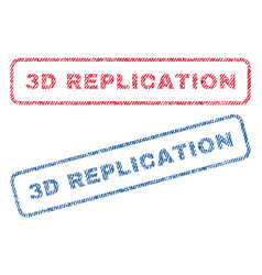 3d replication textile stamps vector