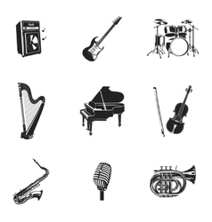 Musical instruments and equipment set vector
