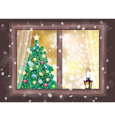 Winter christmas tree house vector