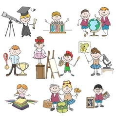 Kids hobbies doodle drawings vector
